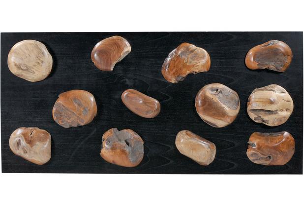 SIT ROMANTEAKA Wand-Deko natur auf schwarzer Platte, mehrere Teile