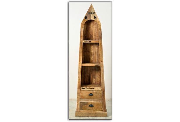 SIT RUSTIC Bootsregal 3 offene Fächer, 2 Schubladen natur antik mit antikschwarzen Beschlägen
