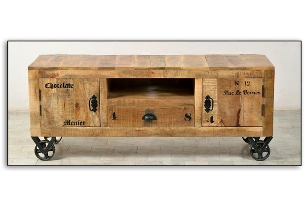 SIT RUSTIC Lowboard 2 Türen, 1 Schublade, 1 offenes Fach natur antik mit antikschwarzen Beschlägen