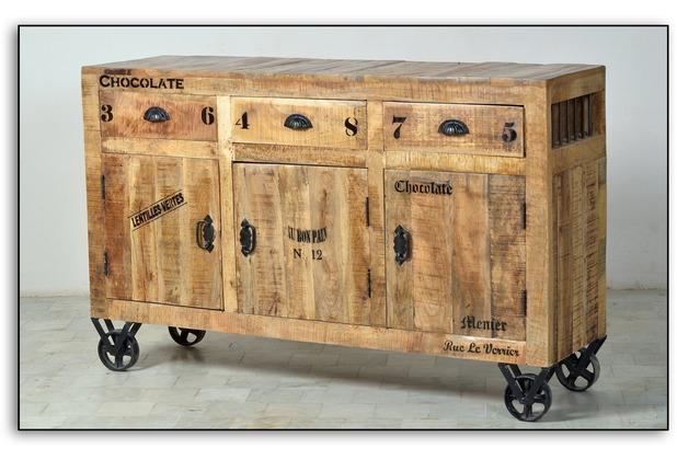 SIT RUSTIC Sideboard 3 Schubladen, 3 Türen natur antik mit antikschwarzen Beschlägen