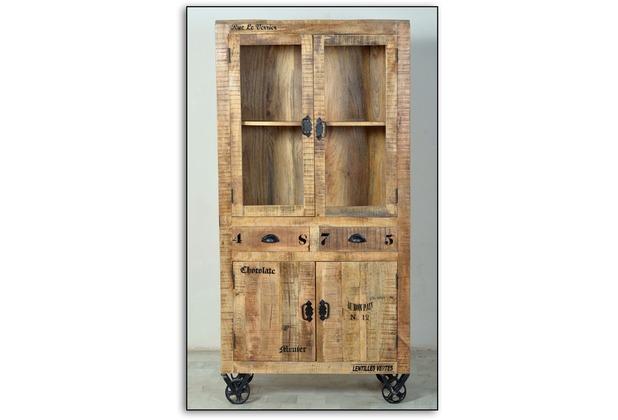 SIT RUSTIC Vitrine 4 Türen, 2 Schubladen, natur antik mit antikschwarzen Beschlägen