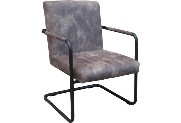 SIT SIT&CHAIRS Armlehnstuhl, 2er-Set Bezug grau, Gestell antikschwarz