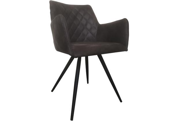 SIT SIT&CHAIRS Armlehnstuhl, 2er-Set Bezug: Texas grey Bezug grau, Gestell antikschwarz
