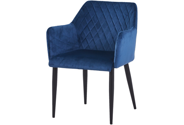 SIT SIT&CHAIRS Armlehnstuhl, 2er-Set dunkelblau Gestell schwarz, Bezug dunkelblau