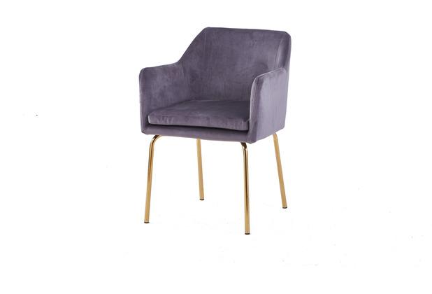 SIT SIT&CHAIRS Armlehnstuhl, 2er-Set dunkelgrau Gestell messingfarbig, Bezug dunkelgrau
