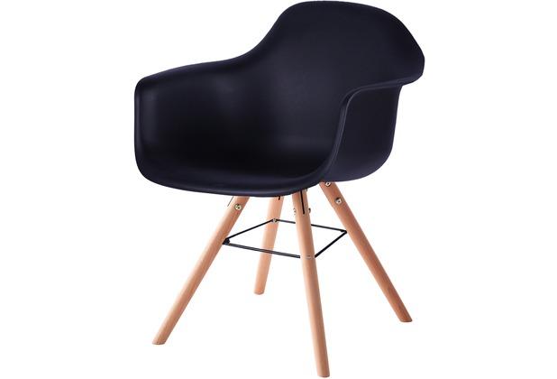 SIT SIT&CHAIRS Armlehnstuhl, 2er-Set schwarz Beine natur, Sitzschale schwarz