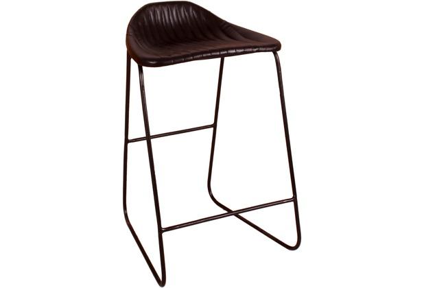 SIT SIT&CHAIRS Barhocker mit Streifensteppung Gestell schwarz, Bezug schwarz