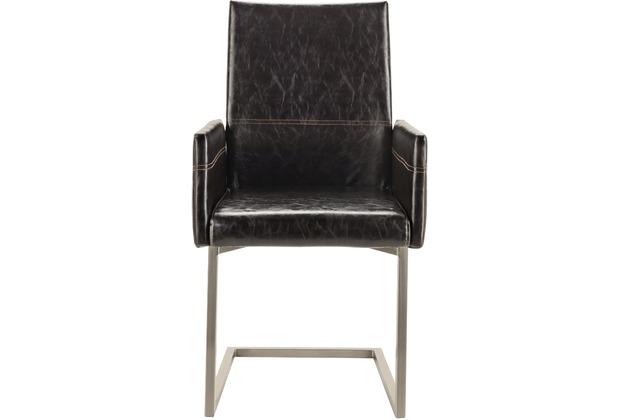 SIT SIT&CHAIRS Schwingsessel, 2er-Set Gestell gebürstet, Bezug schwarz