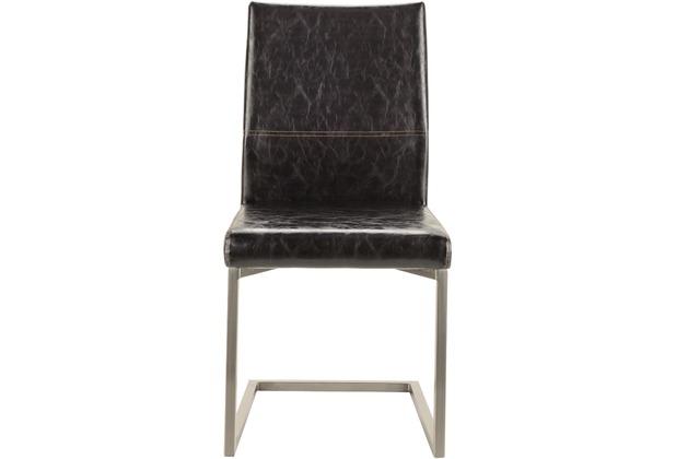 SIT SIT&CHAIRS Schwingstuhl, 2er-Set gebürstetes Gestell, Bezug schwarz
