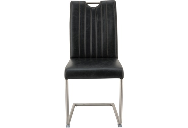 SIT SIT&CHAIRS Schwingstuhl, 2er-Set Gestell gebürstet, Sitzfläche schwarz