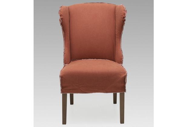 SIT SIT&CHAIRS Sessel, 2er-Set Bezug Jeansstoff stone washed rot, Nähte weiß, Beine grau