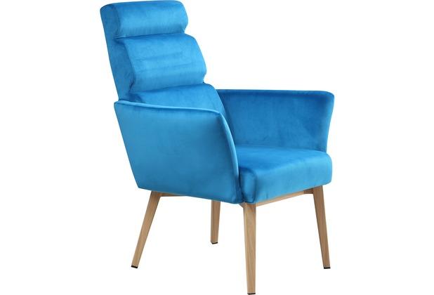 SIT SIT&CHAIRS Sessel blau Gestell natur, Bezug blau