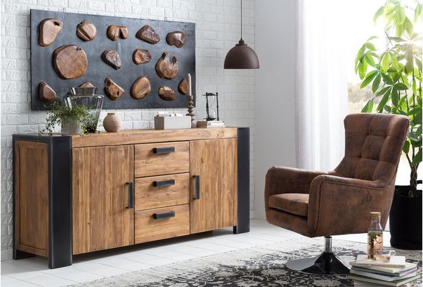 SIT SIT&CHAIRS Sessel drehbar und höhenverstellbar Gestell silber, Bezug antikbraun