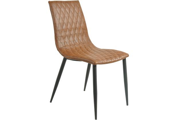 SIT SIT&CHAIRS Stuhl, 2er-Set braun Gestell schwarz, Bezug braun