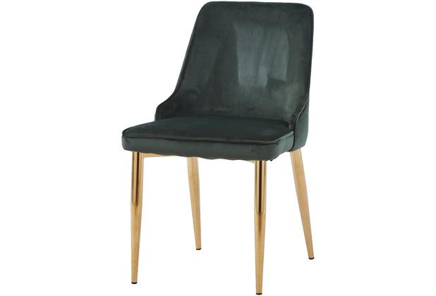SIT SIT&CHAIRS Stuhl, 2er-Set forest green Gestell messingfarbig, Bezug dunkelgrün