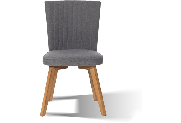 "SIT-Möbel SIT&CHAIRS Stuhl, 2er Set Beine Holz antikfinish, Bezug Stoff \""Cape\"" grau"