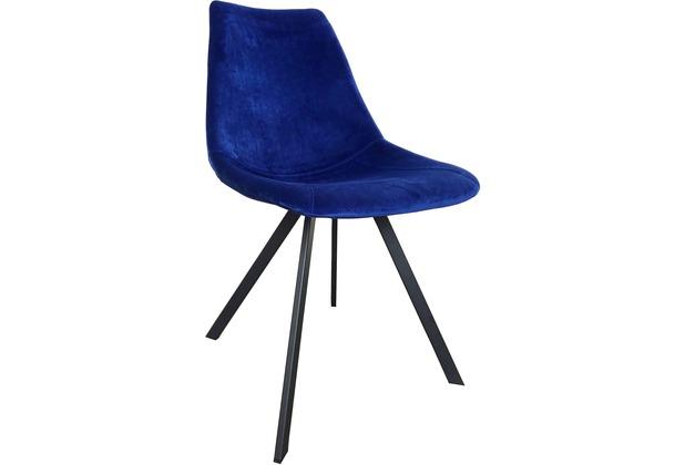 SIT SIT&CHAIRS Stuhl, 2er Set Bezug: Velvet Dark Blue Bezug dunkelblau, Gestell antikschwarz