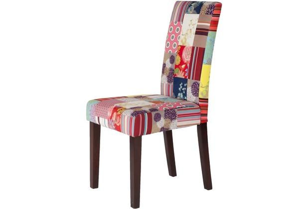 SIT-Möbel SIT&CHAIRS Vollpolsterstuhl, 2er Set Gestell kolonial, Bezug Patchwork bunt