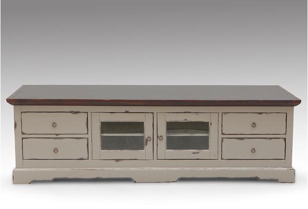 SIT-Möbel SPA Lowboard 2 Glastüren, 4 Schubladen taupe mit messingfarbenen Griffen