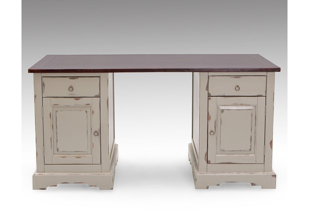 SIT SPA Schreibtisch 2 Holztüren, 2 Schubladen taupe mit messingfarbenen Griffen