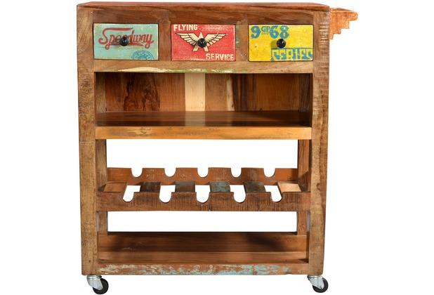 SIT-Möbel SPEEDWAY Küchenwagen 3 Schubladen natur + bunt lackiert