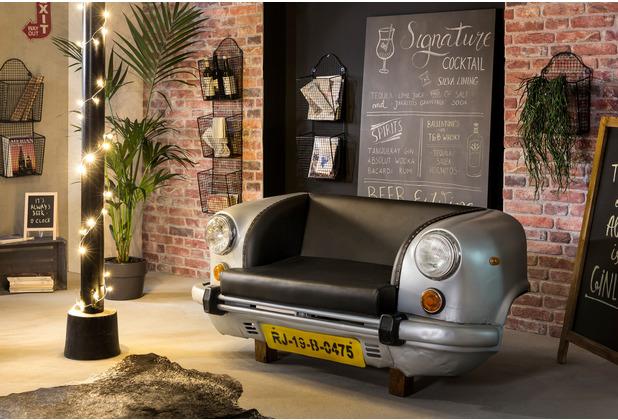 SIT THIS & THAT Auto-Sofa Recycelte Autofront silber/schwarz silber, Kissen schwarz
