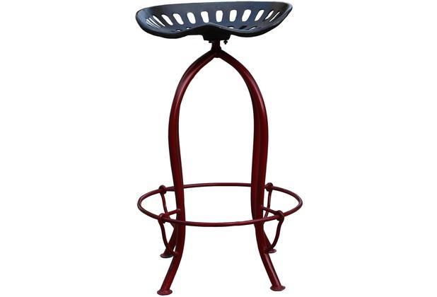 SIT-Möbel THIS & THAT Barhocker aus einem recycelten Traktorsitz Gestell rot, Sitz Roheisen