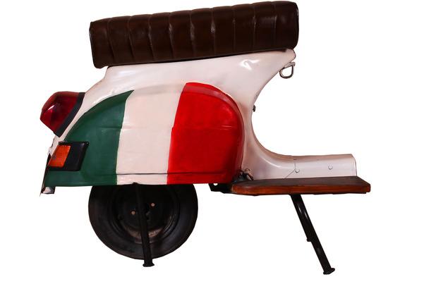 """SIT THIS & THAT Barhocker Roller recyceltes Roller-Heck \""""Italien\"""" weiß mit italienischer Flagge"""
