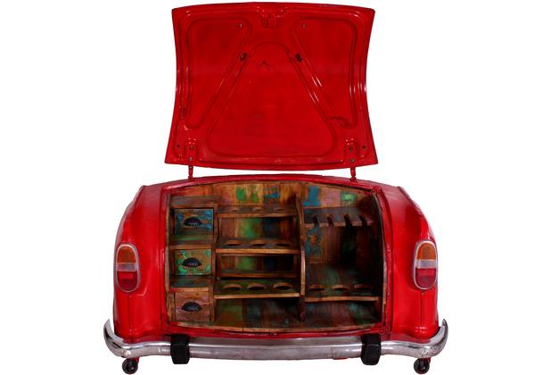 SIT THIS & THAT Barschrank aus einem recycelten Autoheck, mit Ablage für Flaschen und Glöser Rahmen rot, Regale bunt