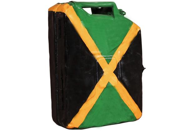 "SIT THIS & THAT Kanister-Hängeschrank aus recyceltem Kanister \""Jamaika\"" mit jamaikanischer Flagge"