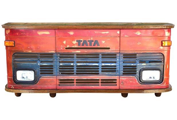 SIT THIS & THAT LKW-Theke an der Rückseite 4 Türen, 3 Schubladen, 2 offene Fächer rot-blau, Deckplatte bunt
