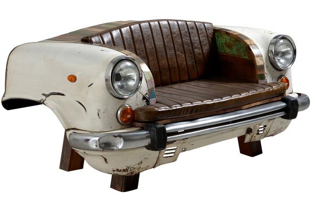 """SIT-Möbel THIS & THAT Sofa Recycelte Autofront inklusive Sitz- und Rückenkissen aus Kunstleder \""""Vintage\"""" creme"""