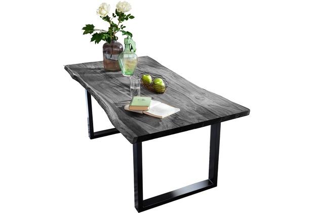 SIT TISCHE Tisch 140 x 80 cm, Gestell schwarz Platte antikgrau lackiert, Gestell antikschwarz lackiert
