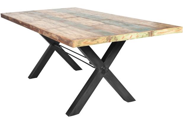 SIT-Möbel TISCHE Tisch 160x85 cm, Altholz bunt lackiert  Platte bunt, Gestell antikschwarz