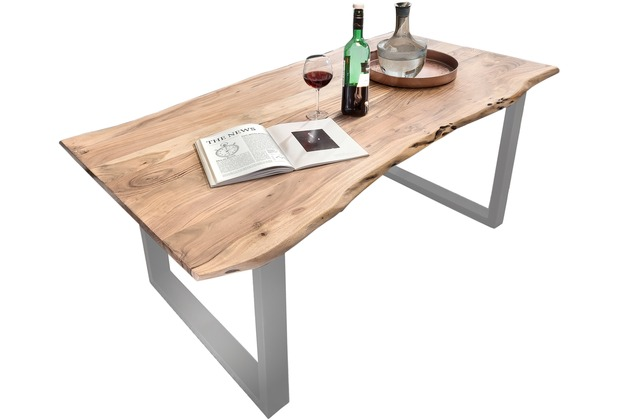 SIT TISCHE Tisch 180 x 90 cm mit Baumkante wie gewachsen Platte antikfinish, Gestell silbern lackiert
