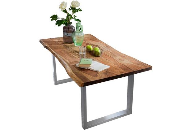 SIT TISCHE Tisch 180 x 90 cm mit Baumkante wie gewachsen Platte nussbaumfarbig, Gestell silber lackiert
