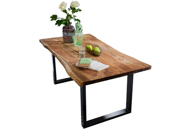 SIT TISCHE Tisch 180 x 90 cm mit Baumkante wie gewachsen Platte nussbaumfarbig, Gestell antikschwarz