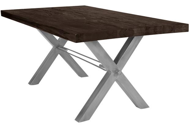 SIT TISCHE Tisch 180x100 cm, Balkeneiche carbon-grau Platte, X-Gestell antiksilbern