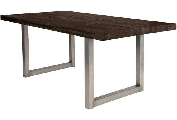 SIT TISCHE Tisch 180x100 cm, Balkeneiche carbon-grau Platte, Gestell antiksilbern