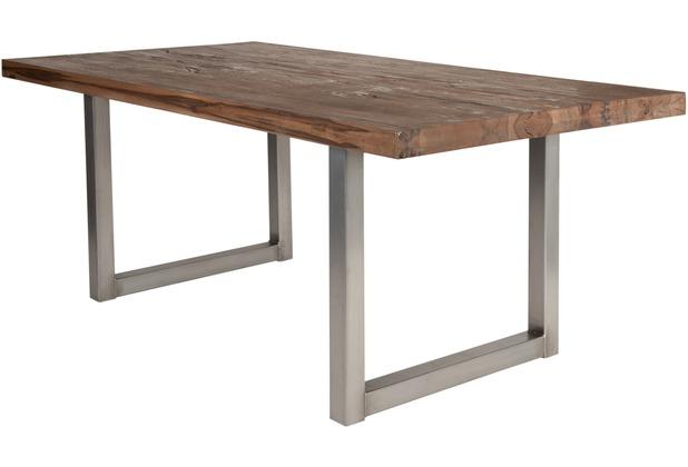 SIT TISCHE Tisch 180x100 cm, Balkeneiche Räucheröl-Finish  Platte Räucheröl-Finish, Gestell antiksilbern