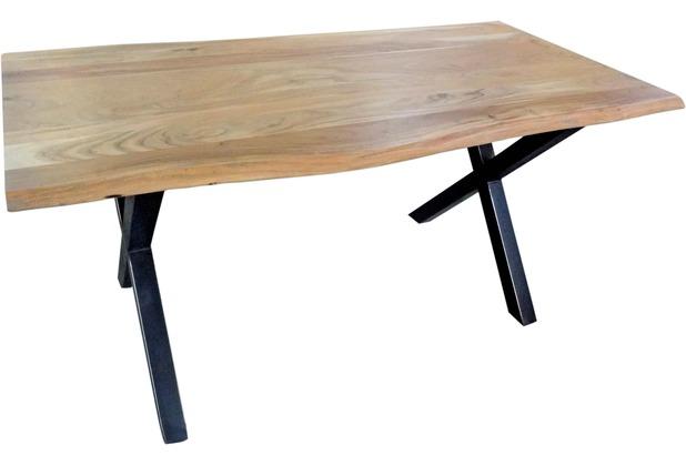 SIT TISCHE Tisch 200 x 100 cm, Gestell schwarz mit Baumkante wie gewachsen Platte antikfinish, Gestell schwarz lackiert