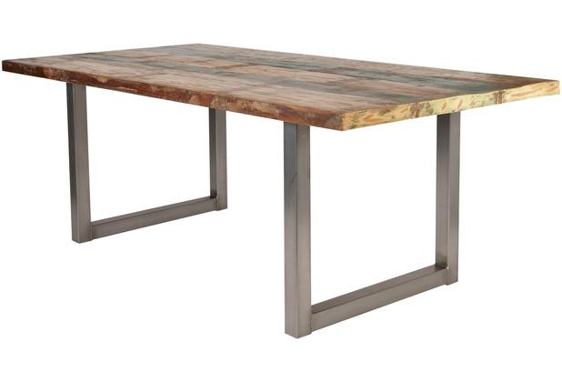 SIT-Möbel TISCHE Tisch 200x100 cm, buntes Altholz  Platte bunt lackiert, Gestell antiksilbern