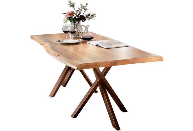 SIT TISCHE Tisch 220x100 cm, Akazie natur mit Baumkante wie gewachsen Platte natur, Gestell antikbraun
