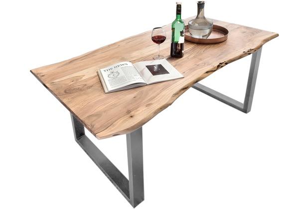 SIT TISCHE Tisch 220x100 cm, Akazie natur Platte natur, Gestell antiksilbern