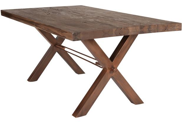 SIT TISCHE Tisch 220x100 cm, Balkeneiche Räucheröl-Finish Platte Räucheröl-Finish, X-Gestell antikbraun