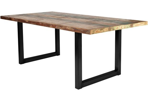SIT-Möbel TISCHE Tisch 220x100 cm, buntes Altholz  Platte bunt lackiert, Gestell antikschwarz
