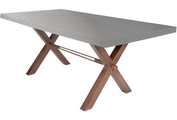SIT-Möbel TISCHE Tisch 220x100 cm, Cement  Platte zementfarbig gestrichen, Gestell antikbraun