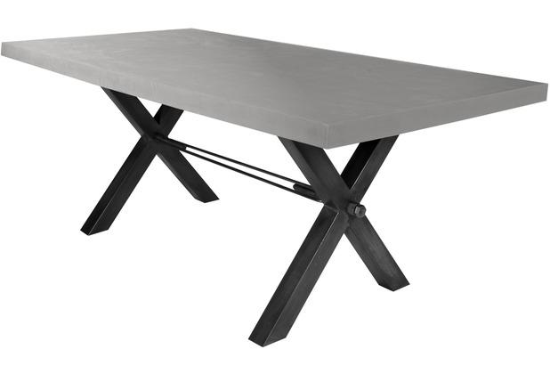 SIT-Möbel TISCHE Tisch 220x100 cm, Cement  Platte zementfarbig gestrichen, Gestell antikschwarz