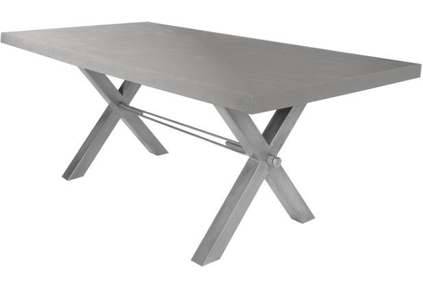 SIT-Möbel TISCHE Tisch 220x100 cm, Cement  Platte zementfarbig gestrichen, Gestell antiksilbern