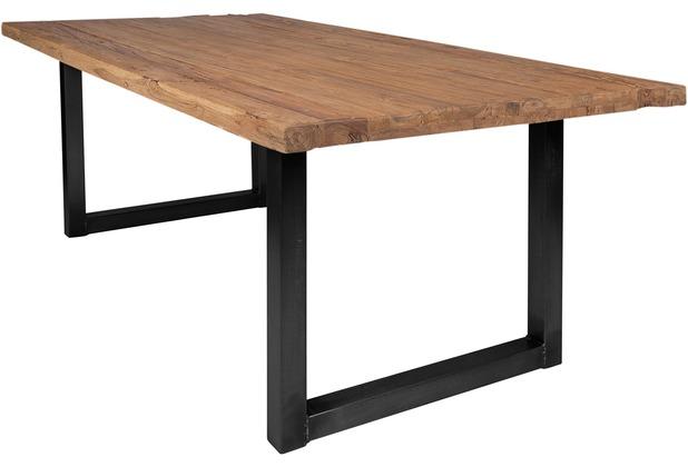 SIT TISCHE Tisch 220x100 cm, recyceltes Teak natur Platte natur, Gestell antikschwarz